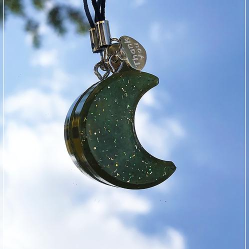 resin charm   green moon