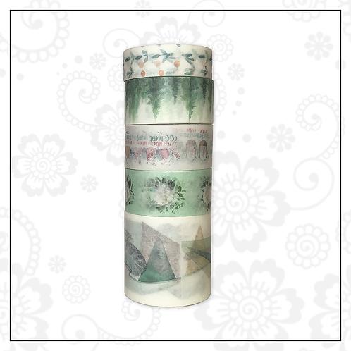 green washi tape set | style 3