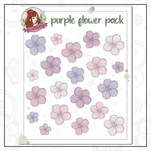 flower sticker pack | purple