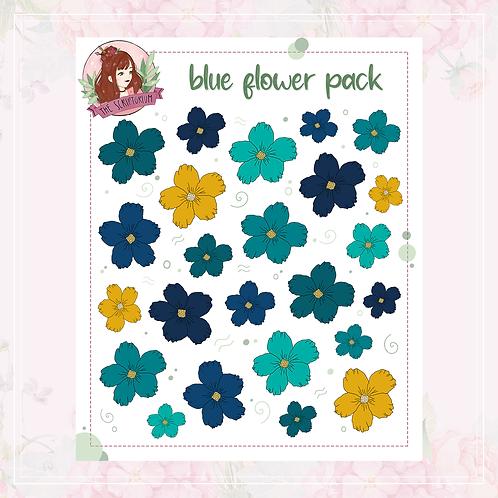 flower sticker pack | blue