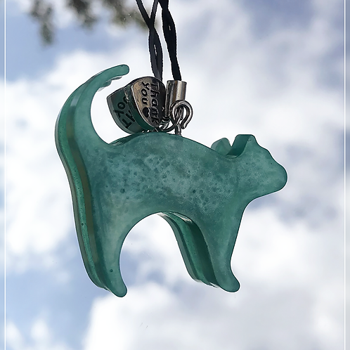 resin charm | turquoise cat