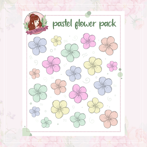 flower sticker pack   pastel