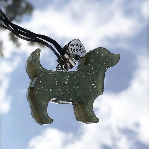 resin charm | green dog
