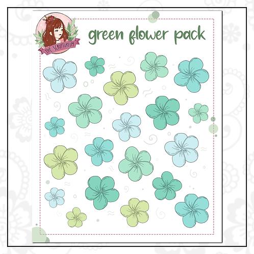 flower sticker pack | green