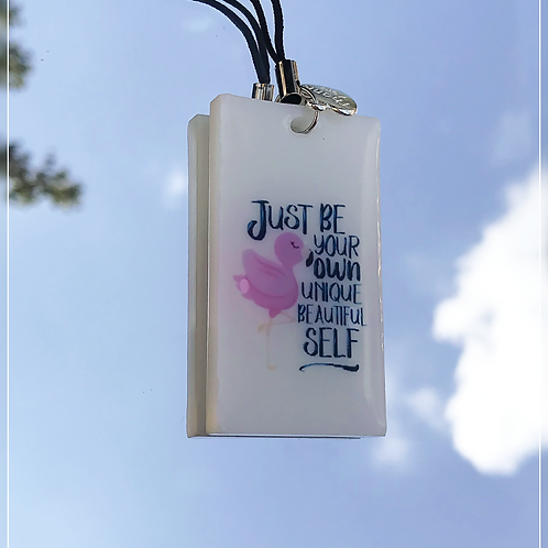 resin charm | flamingo quote tag