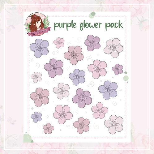 flower sticker pack   purple