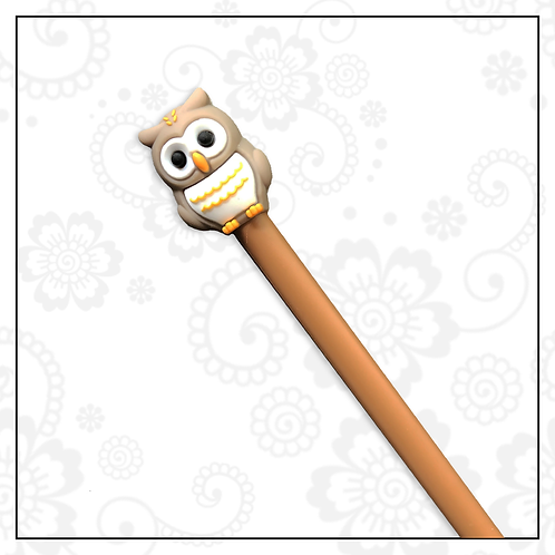 owl gel pen | brown