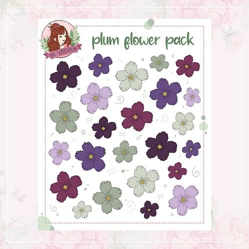 flower sticker pack   plum