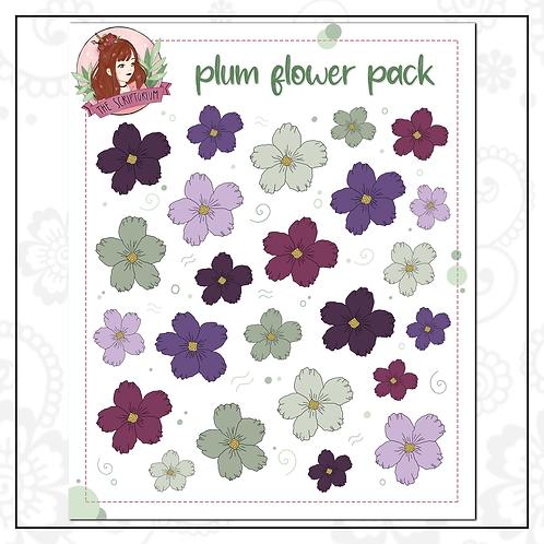 flower sticker pack | plum