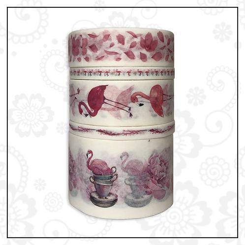 5pc washi tape set   flamingo