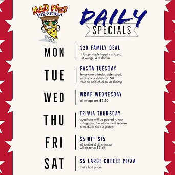 July Daily Specials