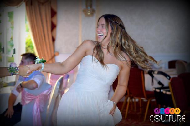 Bridesmaid having fun