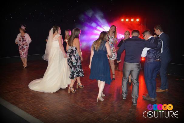 Great lighting at wedding disco