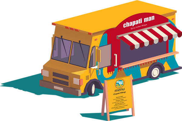 Chapati Man Blue Van - food cart, spicy Indian food