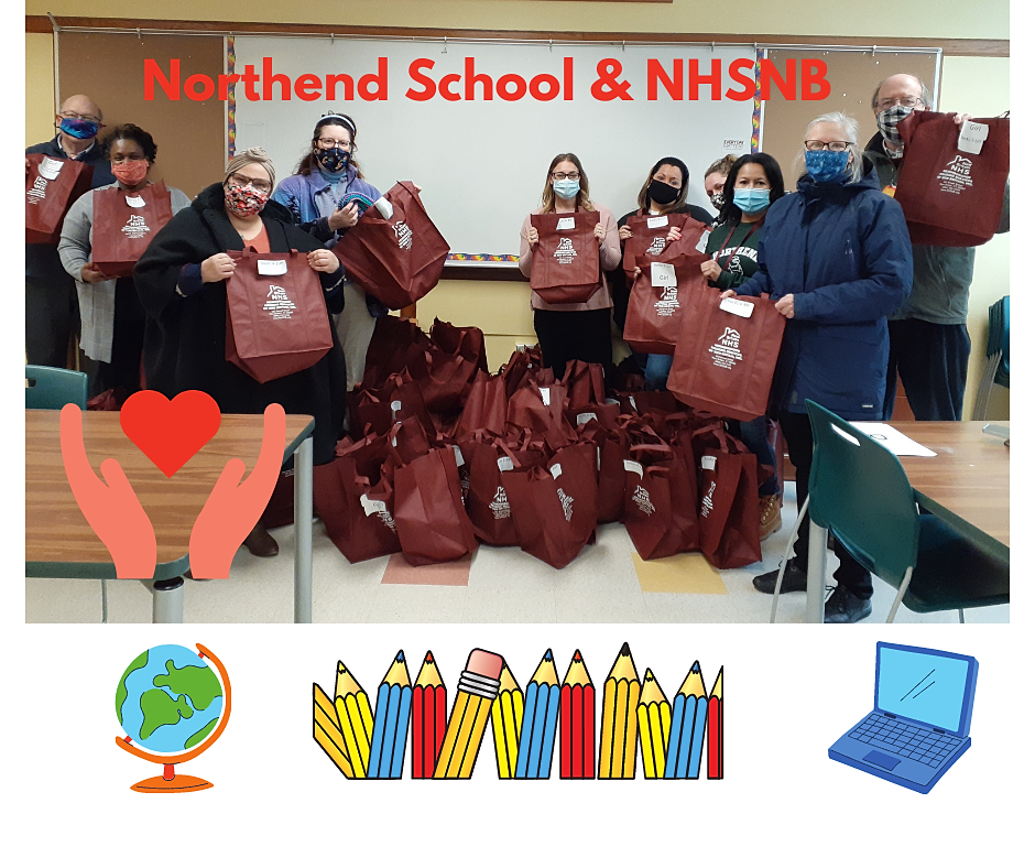 NHSNB donated 125 bags of winter wear items to North End Elementary students and families in February 2021 as part of its Winter Drive. Contributions came in from NHSNB Board members and staff, New Britain Senior Center Members, and the New Britain community. Many handcrafted scarves, hats and mittens were donated.