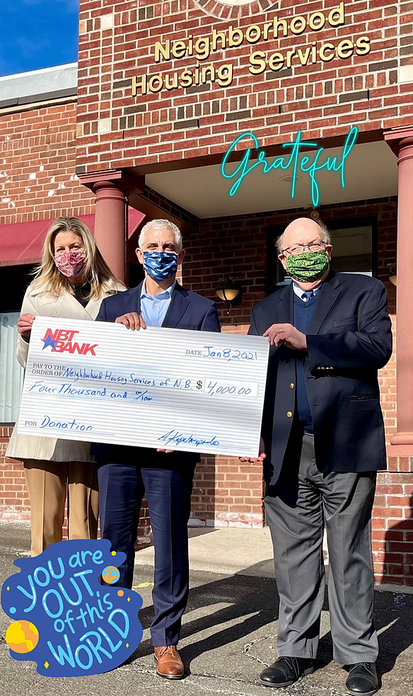 NBT Bank recently awarded a $4,000 grant to NHSNB. NBT Bank Connecticut Regional President Andreas Kapetanopoulos (Center) and Kate Van Valkenburg, Senior Vice President and Senior Commercial Banking Relationship Manager (Left) present the check to NHSNB Executive Director Chris Sanders (Right). Ms. Van Valkenburg is a member of NHSNB Board of Directors, which she joined in 2012.