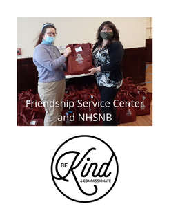 Friendship Service Center (FSC) Program Director Sarah DiMaio and NHSNB Community Building Director Daria Keyes amid 45 NHSNB bags containing personal care items for FSC clients. This is one of the results of NHSNB's WInter Snuggled Bundle of Care Drive held from December 2020 to January 2021.