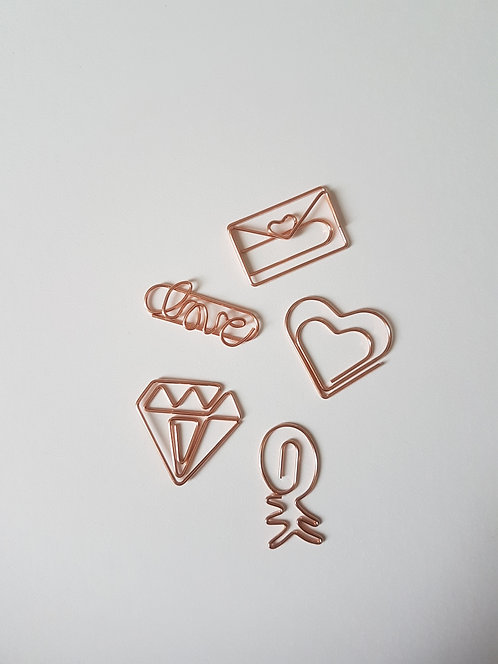 Rose Gold paper clips set