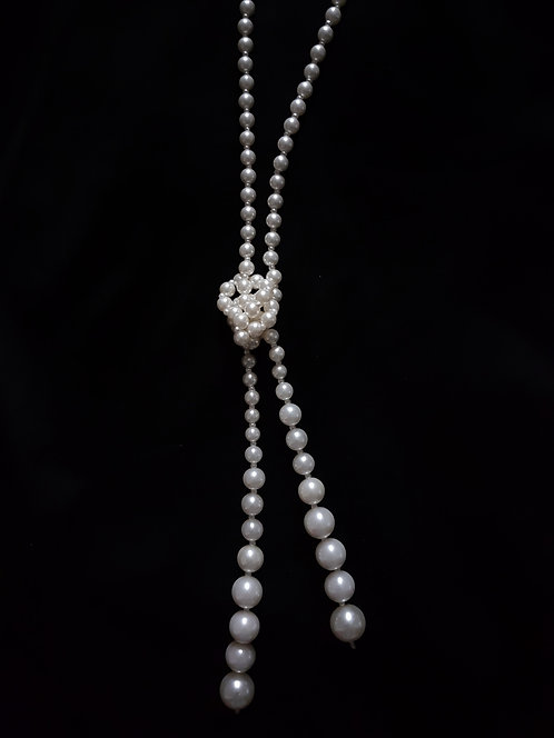 1920s Flapper Faux Pearl Knot Necklace