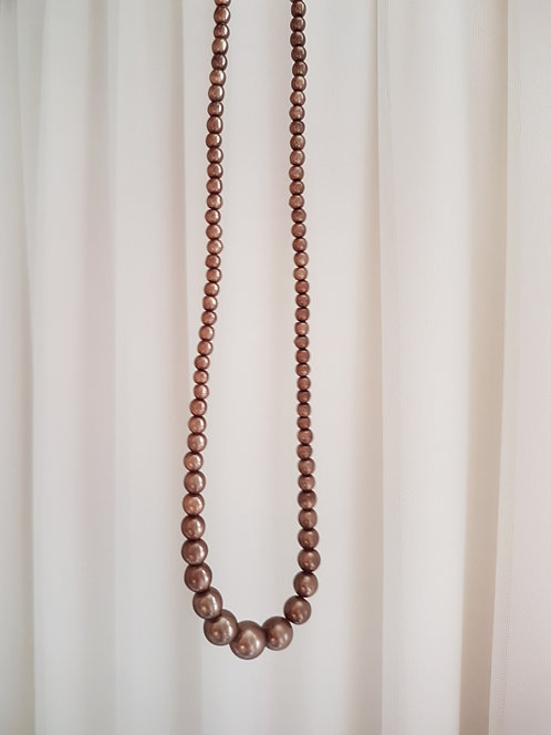Brown 1980s Pearl Necklace