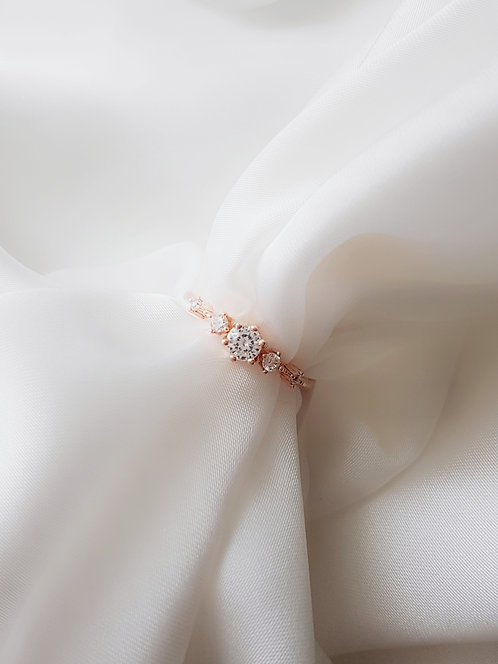 Diamante Ring 925 Rose Gold Plated