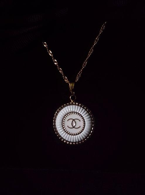 White Vintage Chanel Button Necklace
