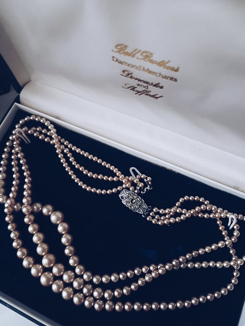 *Boxed* 1950s Signed 'Made in England' triple Pearl Necklace