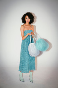 balloon tulle pearl shoulder