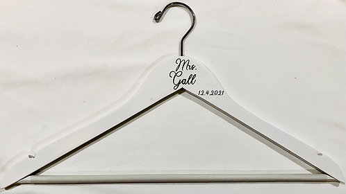 White Engraved Wood Hangers