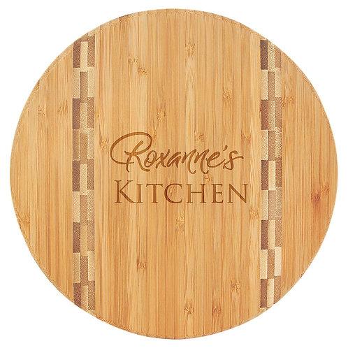 Round Bamboo Cutting Board/Butcher Block Inlay