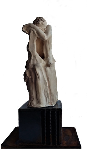 Chagrin - Faïence blanche cuite 18x35x14 avec socle solidaire 22x49x28
