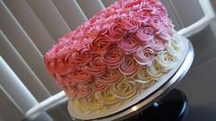 Pink Ombré Rosette Cake 😊💕 #Babyshower