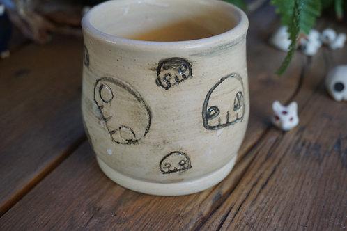 Sgraffito Skull Mug