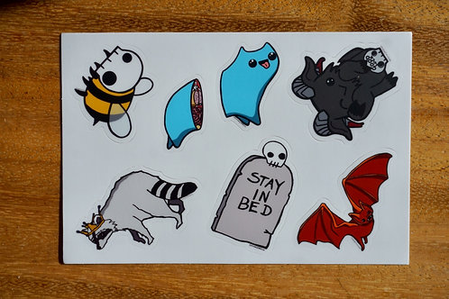 Sticker sheet of 6 designs