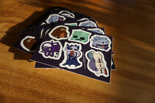 Dungeons and Dragons Sticker sheet of 6 designs
