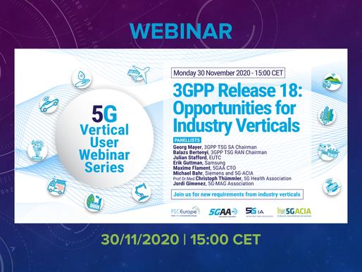 30.11.2020 - 3GPP Release 18: Opportunity for Industry Verticals