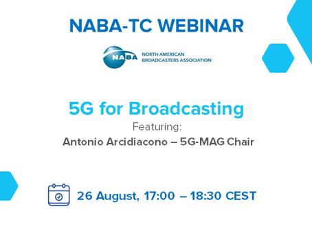 "26.08.2020 - NABA-TC Webinar ""5G for Broadcasting"""