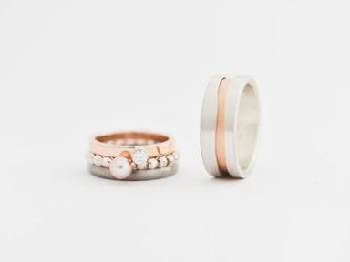 Roodgoud, zilver, titanium, roze parel en diamant