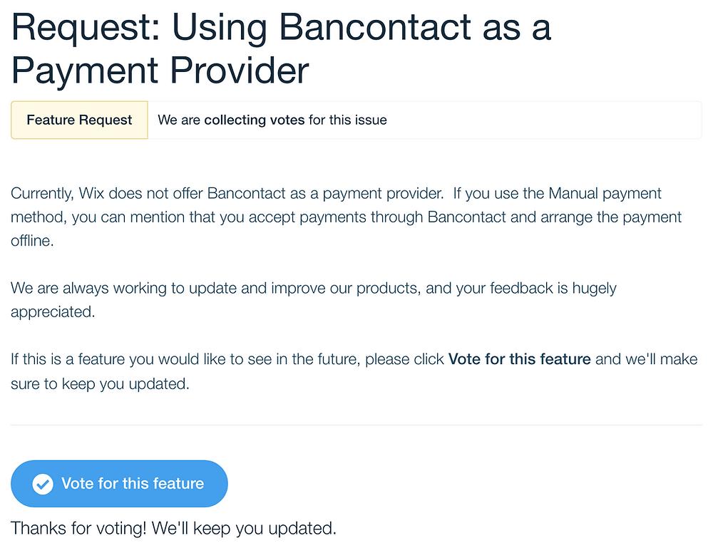 Stem mee om betalen via Bancontact op jouw Wix website mogelijk te maken!