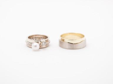 Witgoud, geelgoud, witte parel en diamant