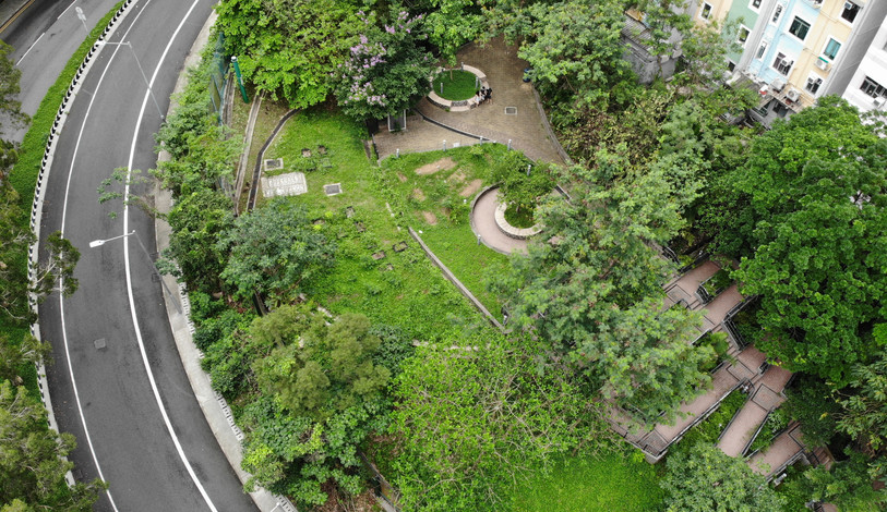 Drone view of Smithsfield Garden