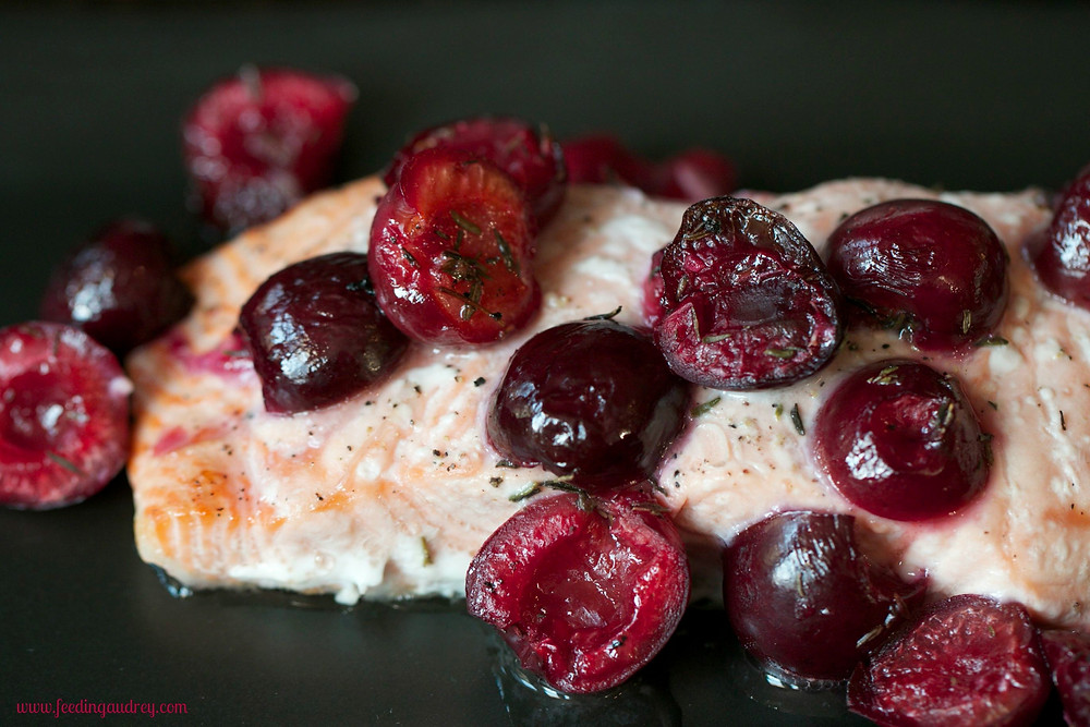 Roasted Salmon with Cherries  www.redkitchenette.com