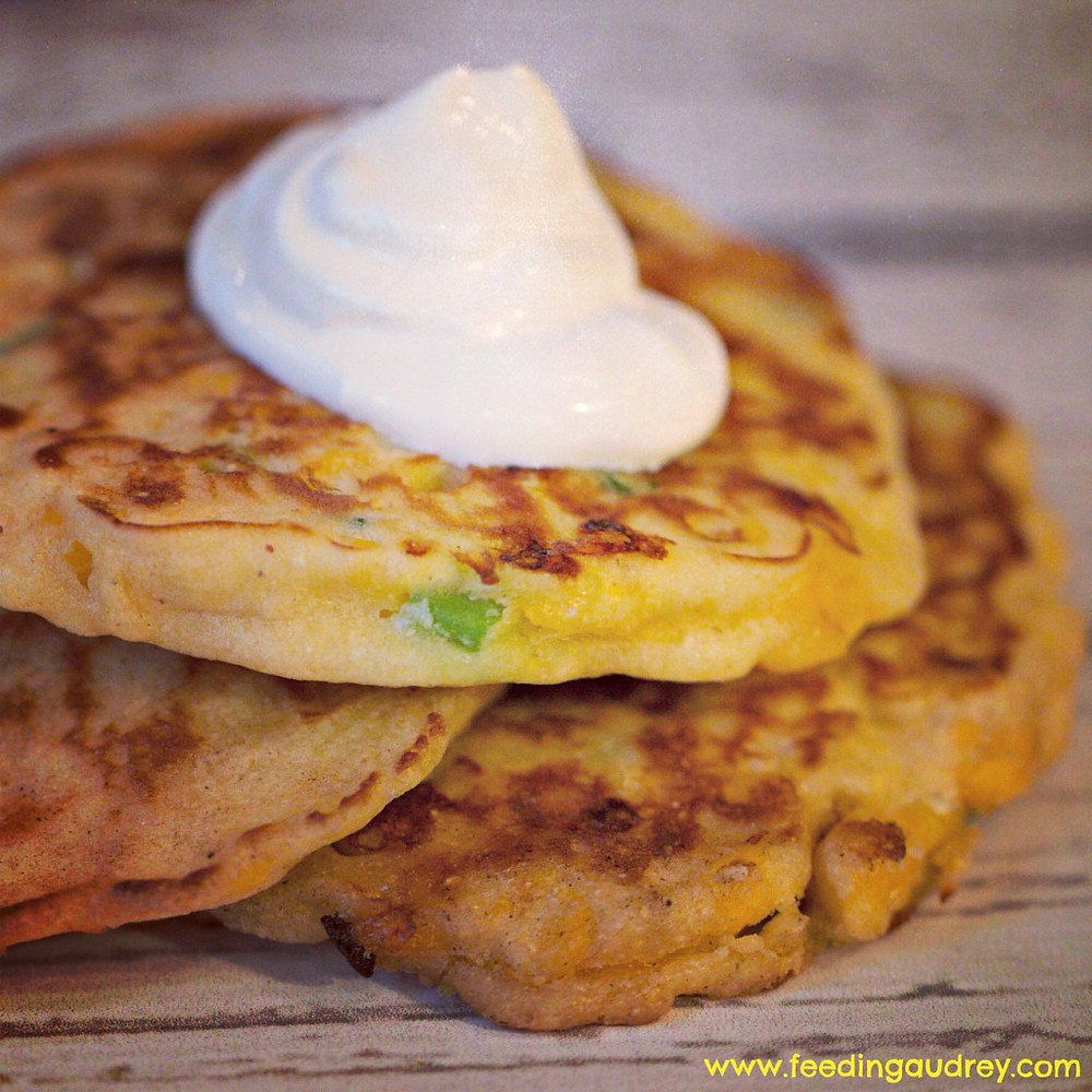 Corn and Scallion Griddle Cakes www.redkitchenette.com