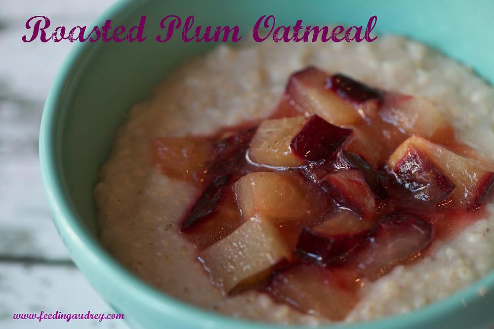 Roasted Plum Oatmeal www.redkitchenette.com