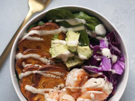 Tahini Shrimp Buddha Bowl