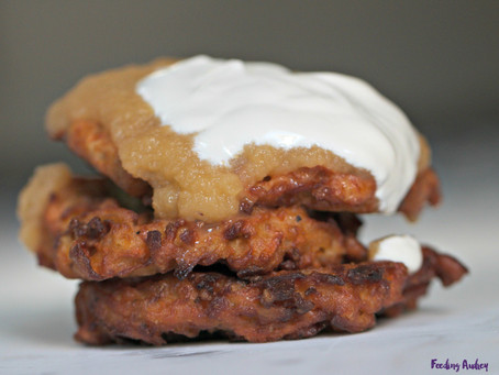 Sweet Potato Pancakes with Homemade Applesauce & Sour Cream