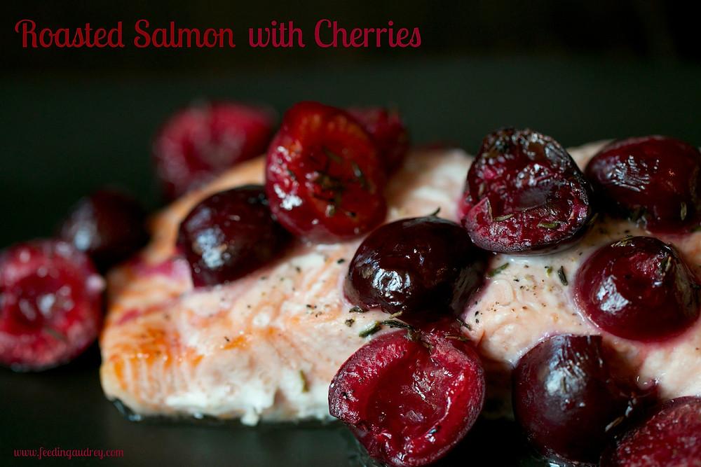 Roasted Alaskan Salmon with Cherries www.redkitchenette.com