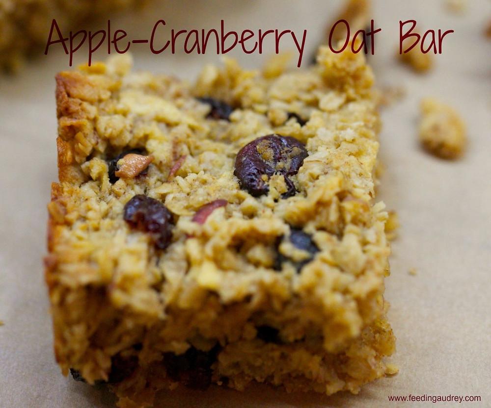 Apple-Cranberry Oat Bar  www.redkitchenette.com