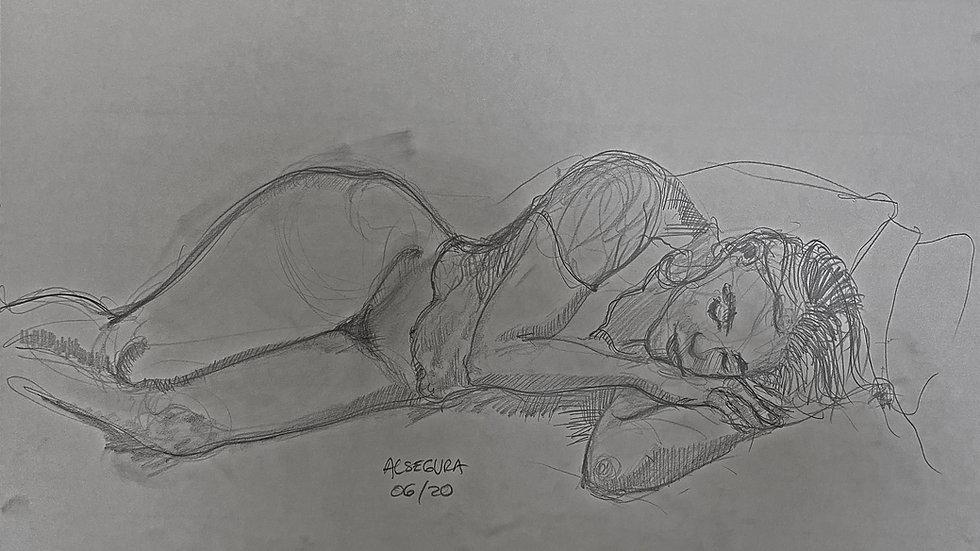 Girl Lying on Bed B
