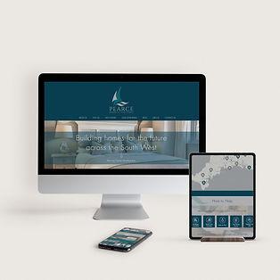 mockup of desktop monitor, tablet and phone showing website design